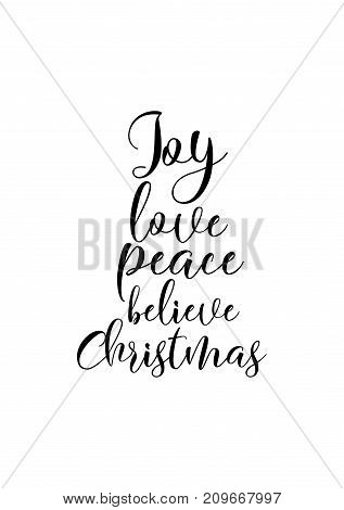 Christmas greeting card with brush calligraphy. Vector black with white background. Joy, love, peace, believe, Christmas.