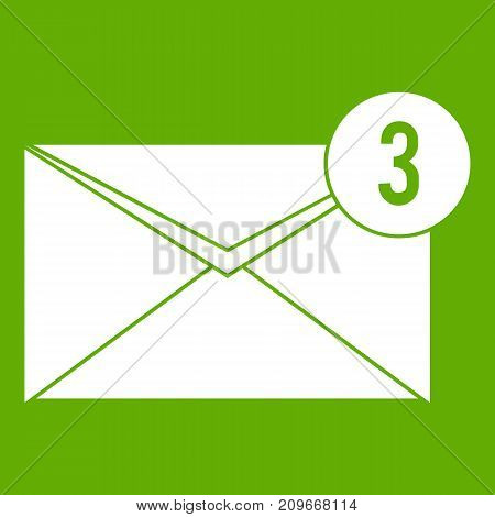 Envelope with three messages icon white isolated on green background. Vector illustration