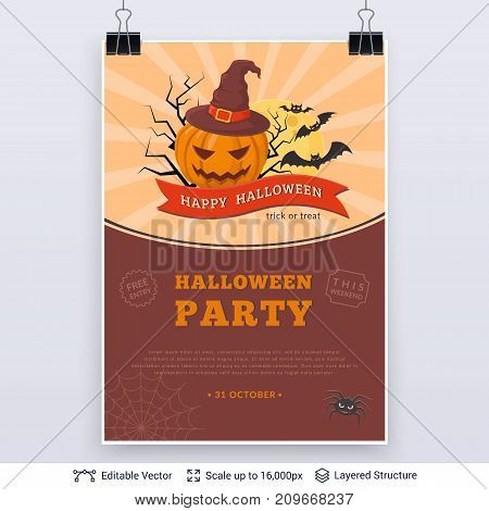 Bright background with jack pumpkin and text block. Vector layered structure.