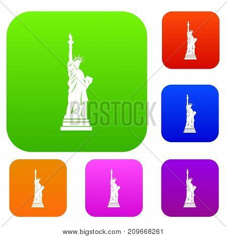 Statue of liberty set icon color in flat style isolated on white. Collection sings vector illustration