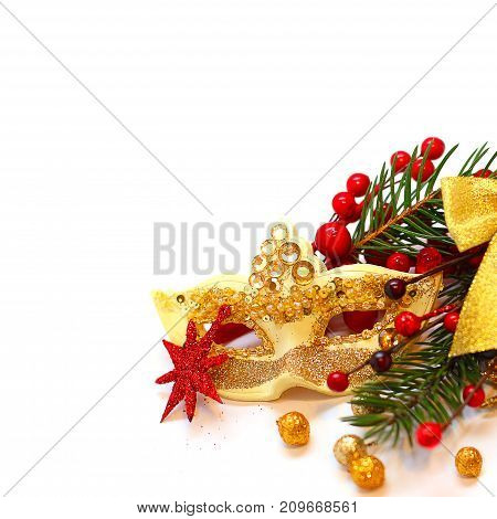 Christmas Background with Golden Decoration Green Xmas Tree Branch and Red Berry on White Background