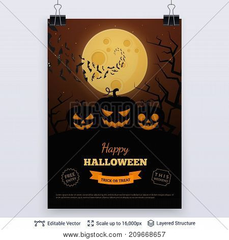 Jack lantern and bats flying to full moon. Vector layered background with text block.