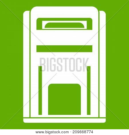 Square post box icon white isolated on green background. Vector illustration