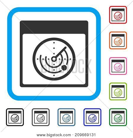 Radar Calendar Page icon. Flat grey pictogram symbol in a light blue rounded rectangle. Black, gray, green, blue, red, orange color versions of Radar Calendar Page vector.