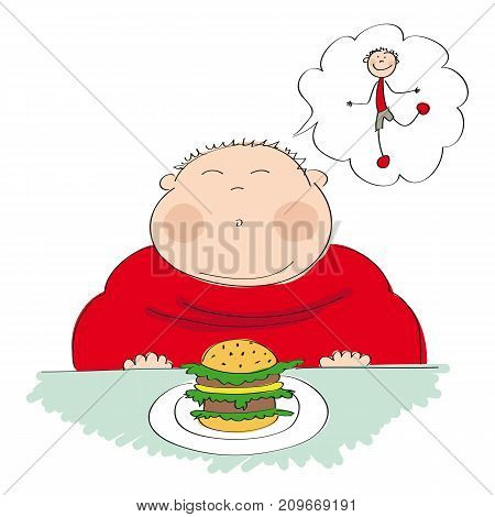 Fat man with hamburger sitting in fastfood and dreaming about slim figure - original hand drawn illustration