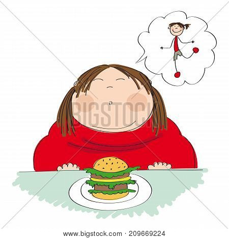 Fat woman with hamburger sitting in fastfood and dreaming about slim figure - original hand drawn illustration