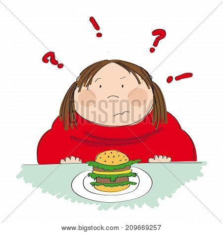 Fat woman with hamburger sitting in fastfood and trying to decide whether to eat it or not - original hand drawn illustration