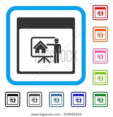 Realty Developer Calendar Page icon. Flat grey iconic symbol inside a light blue rounded square. Black, gray, green, blue, red, orange color variants of Realty Developer Calendar Page vector.