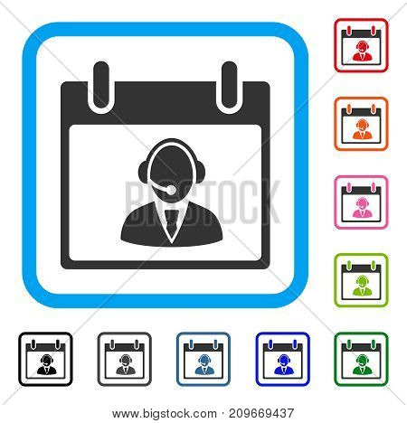 Reception Operator Calendar Day icon. Flat grey iconic symbol in a light blue rounded square. Black, gray, green, blue, red, orange color versions of Reception Operator Calendar Day vector.