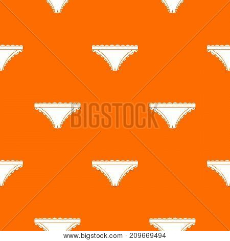 Panties with frill pattern repeat seamless in orange color for any design. Vector geometric illustration