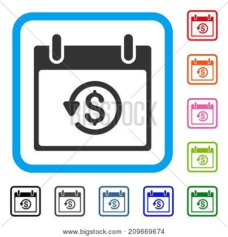 Refund Calendar Day icon. Flat grey iconic symbol in a light blue rounded square. Black, gray, green, blue, red, orange color variants of Refund Calendar Day vector.