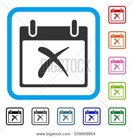 Reject Calendar Day icon. Flat grey pictogram symbol in a light blue rounded rectangular frame. Black, gray, green, blue, red, orange color additional versions of Reject Calendar Day vector.