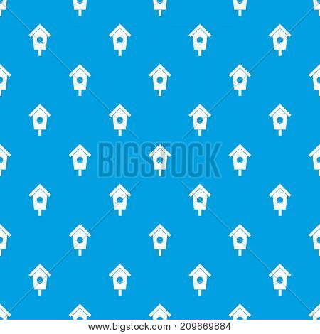 Birdhouse pattern repeat seamless in blue color for any design. Vector geometric illustration