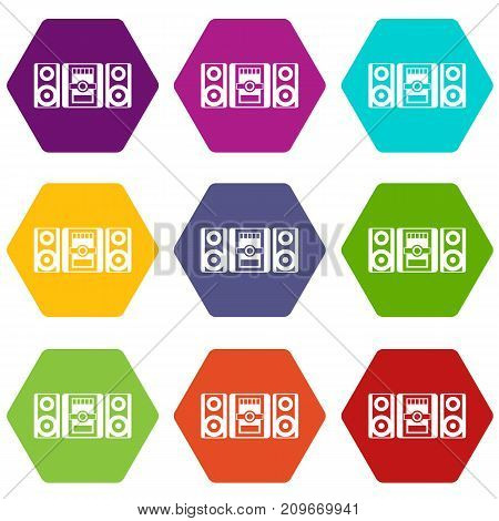 Music center icon set many color hexahedron isolated on white vector illustration