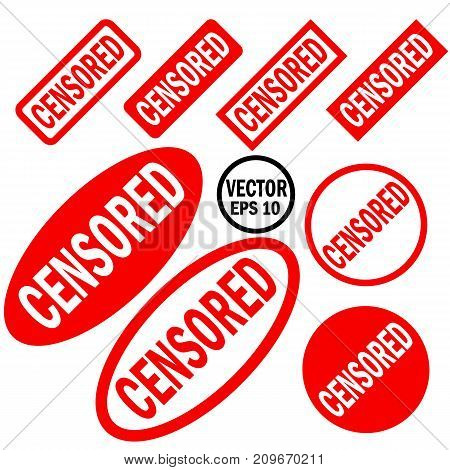 Censored set of red round and square rubber stamps with carved inscription isolated on white background