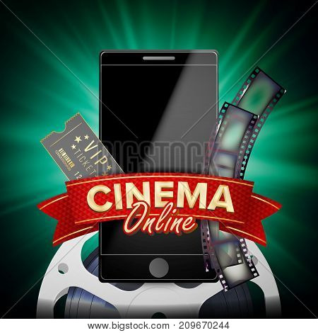 Online Cinema Poster Vector. Modern Mobile Smart Phone Concept. Good For Flyer, Banner, Marketing On Social Network. Movie Reel, Clapper Board. Marketing Luxury Banner, Poster Illustration.