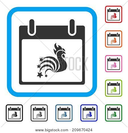 Rooster Fireworks Calendar Day icon. Flat grey pictogram symbol inside a light blue rounded frame. Black, gray, green, blue, red, orange color versions of Rooster Fireworks Calendar Day vector.