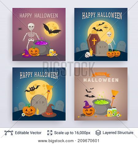 Cute pumpkins and witch magical objects. Vector layered backgrounds with text block.