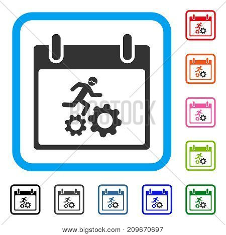 Running Worker Calendar Day icon. Flat gray iconic symbol inside a light blue rounded squared frame. Black, gray, green, blue, red, orange color variants of Running Worker Calendar Day vector.