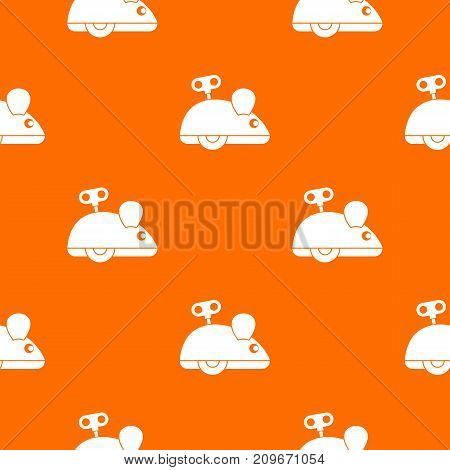 Clockwork mouse pattern repeat seamless in orange color for any design. Vector geometric illustration
