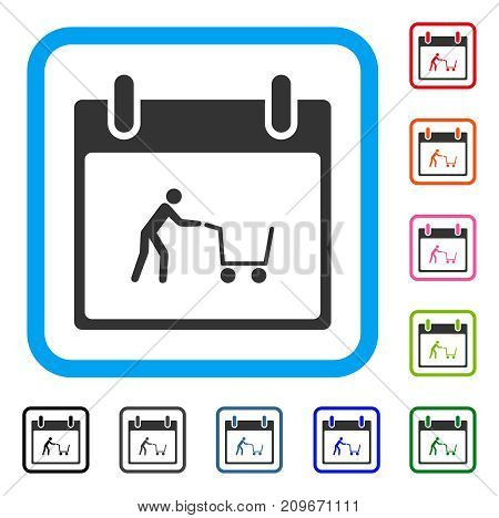 Shopping Cart Calendar Day icon. Flat gray pictogram symbol inside a light blue rounded rectangle. Black, gray, green, blue, red, orange color variants of Shopping Cart Calendar Day vector.