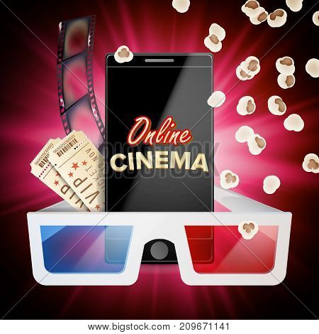 Online Cinema Vector. Banner With Mobile Phone. 3D Online Cinema Concept. Template For Web Cite, Ads, Poster. Flyer Or Poster. Film Industry. Illustration