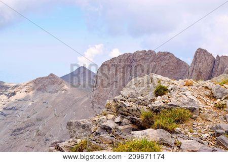 Skala Mytikas and Stephani the highest peaks of Olympus.