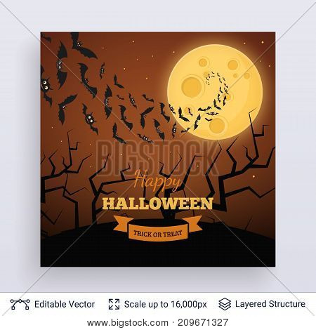 Full Moon and bats at night. Vector layered background with text block.