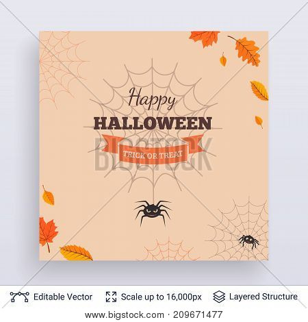 Cute spiders in web framed with autumn leaves. Vector layered background with text block.