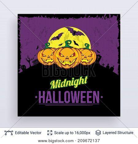 Cartoon jack lanterns at night. Vector layered background with text block.