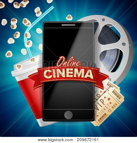 Online Cinema Banner Vector. Realistic Smart Phone. Template For Placard, Promotion Material. Online Cinema Background. Luxury Banner Illustration.