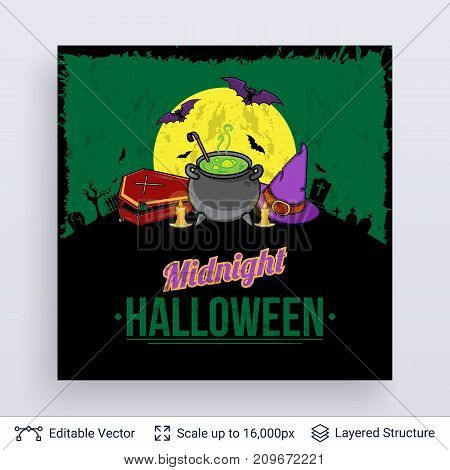 Witch magical things at night. Vector layered background with text block.