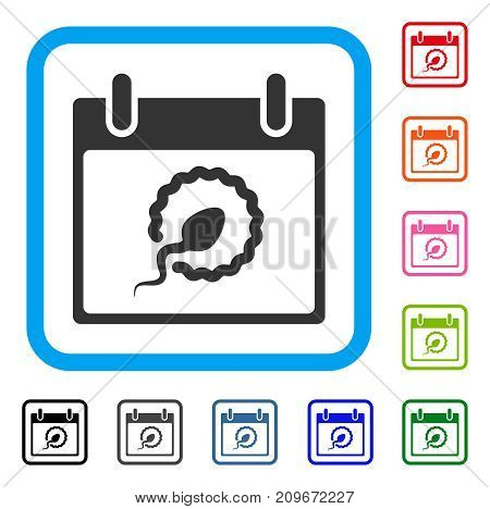 Sperm Insemination Calendar Page icon. Flat gray iconic symbol in a light blue rounded square. Black, gray, green, blue, red, orange color variants of Sperm Insemination Calendar Page vector.