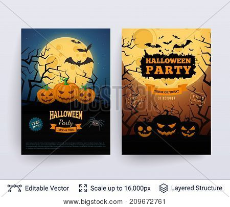 Carved jack lanterns and full Moon at midnight. Vector layered background with text block.