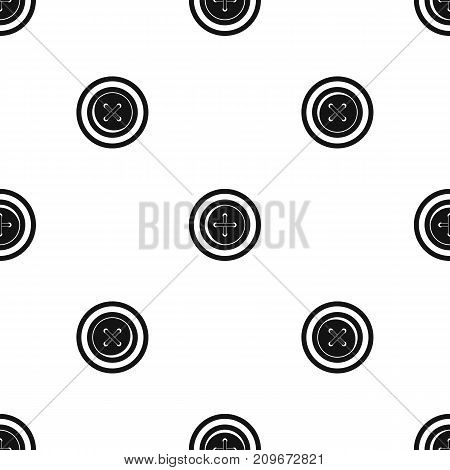 Sewing button with a thread pattern repeat seamless in black color for any design. Vector geometric illustration