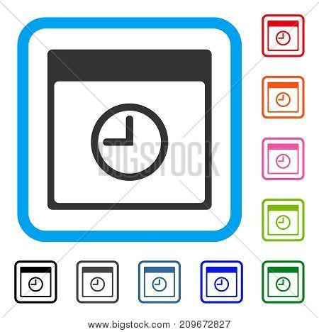 Time Calendar Page icon. Flat grey iconic symbol in a light blue rounded frame. Black, gray, green, blue, red, orange color versions of Time Calendar Page vector. Designed for web and app interfaces.