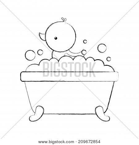 bathtub and duck clean hygiene interior ceramic icon vector illustration