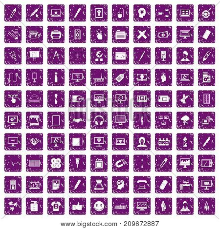 100 webdesign icons set in grunge style purple color isolated on white background vector illustration