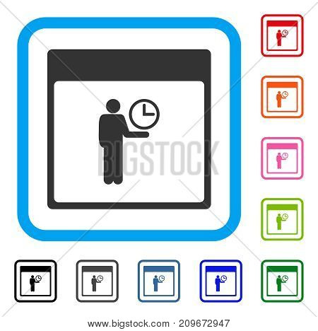 Time Manager Calendar Page icon. Flat gray pictogram symbol in a light blue rounded squared frame. Black, gray, green, blue, red, orange color variants of Time Manager Calendar Page vector.