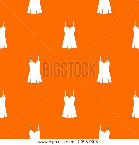 Nightdress pattern repeat seamless in orange color for any design. Vector geometric illustration