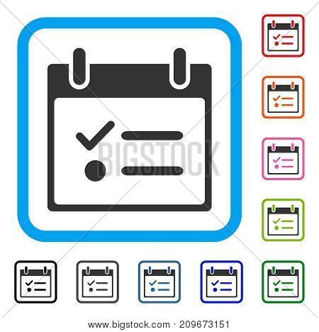 Todo List Calendar Day icon. Flat grey iconic symbol inside a light blue rounded rectangle. Black, gray, green, blue, red, orange color versions of Todo List Calendar Day vector.