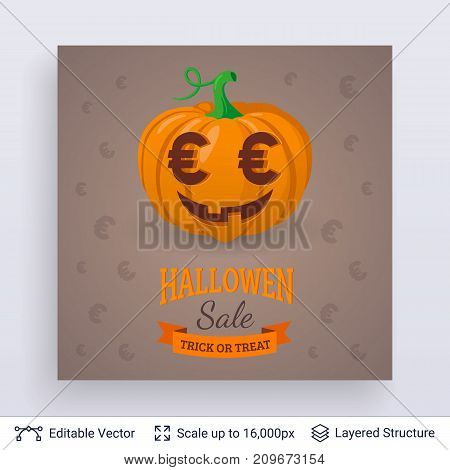 Currency symbols carved on pumpkin. October sale concept. Vector layered background with text block.