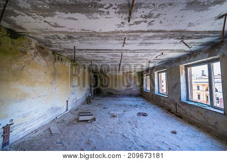 Interior of one of the abandoned buildings in 19th century military fortress in Daugavpils Latvia