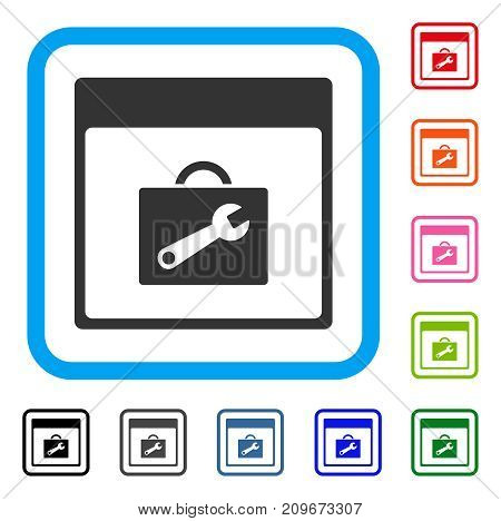 Toolbox Calendar Page icon. Flat gray pictogram symbol in a light blue rounded frame. Black, gray, green, blue, red, orange color variants of Toolbox Calendar Page vector.