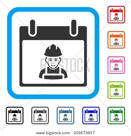 Worker Calendar Day icon. Flat gray pictogram symbol in a light blue rounded square. Black, gray, green, blue, red, orange color versions of Worker Calendar Day vector. Designed for web and app UI.