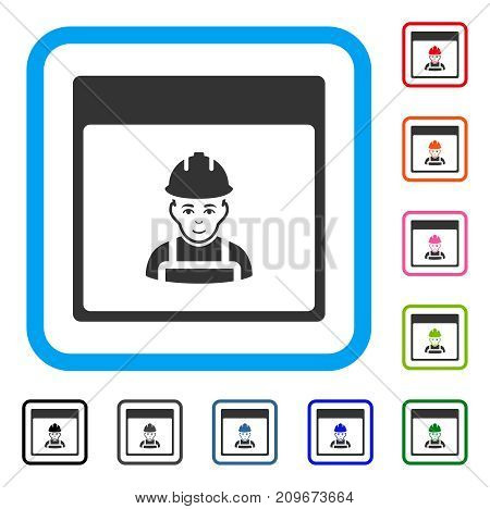 Worker Calendar Page icon. Flat gray iconic symbol inside a light blue rounded rectangular frame. Black, gray, green, blue, red, orange color versions of Worker Calendar Page vector.