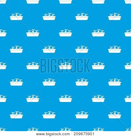 Carrots in a wooden pot pattern repeat seamless in blue color for any design. Vector geometric illustration