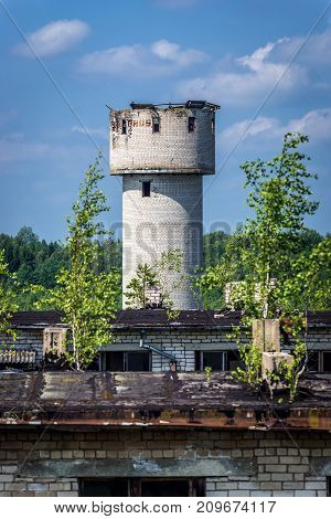 Water tower in Skrunda ghost town former USSR military base in Lativa