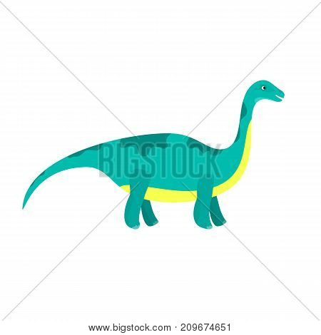 Cute cartoon flat blue diplodocus character. Vector isolated dinosaur illustration for kids book app advertisement design