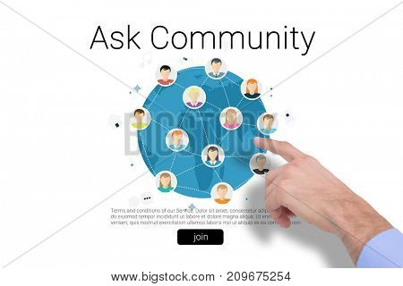Hand of a businessman pointing something against human representations with ask community text